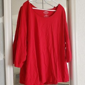 Red 3/4 Sleeve Cotton Blouse